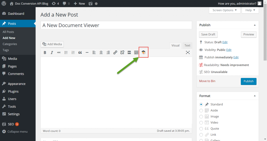 Step 6 - Insert A Doc Conversion API Widget Into Your Post