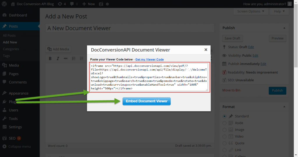 Step 7 - Get Your Document Viewer Code And Paste It Into The Plugin Window